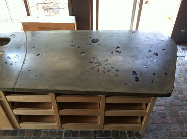 Image result for concrete countertops recycled glass