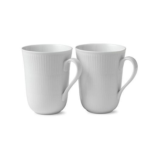 White Fluted Mug, Set of 2 by Royal Copenhagen