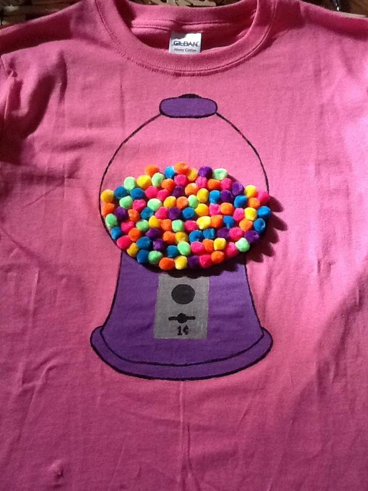 """Our 100th day of school shirt. 100 pom pom """"gum balls."""""""