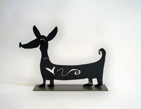 Weenie Dog - Garden Deva Sculpture Company makes unique sculptural gifts and presents for your friends and family; be unique with fun wedding and birthday gifts.