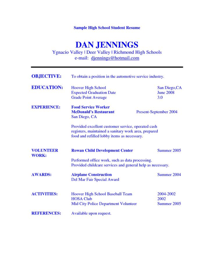 high school student resume objective exles sle