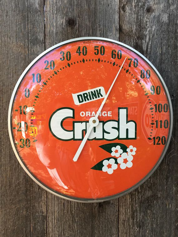 Vintage 12 Drink Orange Crush Curved Bubble Glass
