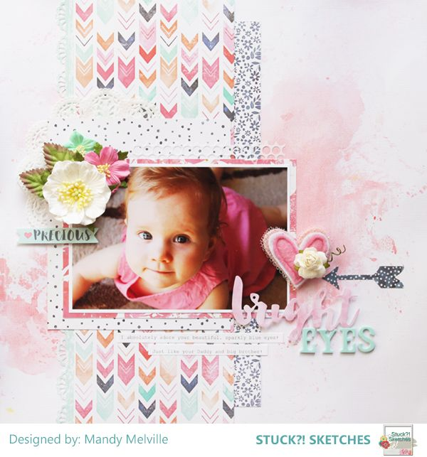 Bright Eyes | Stuck?! Sketches February 15th DT Layout | Cocoa Vanilla Studio Free Spirit collection | D-lish Scraps embellishments