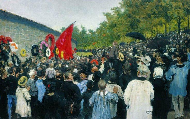 Годовой поминальный митинг у Стены коммунаров на кладбище Пер-Лашез в Париже. Илья Ефимович Репин