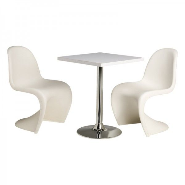 A Philip Stark Designed Icon -- Sleek, modern, and stylish; great for upscale events or contemporary breakfast nooks. | Panton Chairs with Square White Cafe Table cortevents.com
