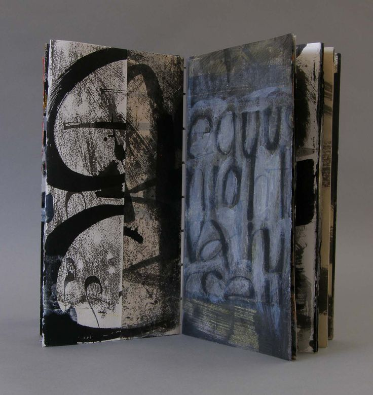 """Laura Wait  From Imminent Struggle, Artist book, painted pages…. about 8"""" x 15"""","""