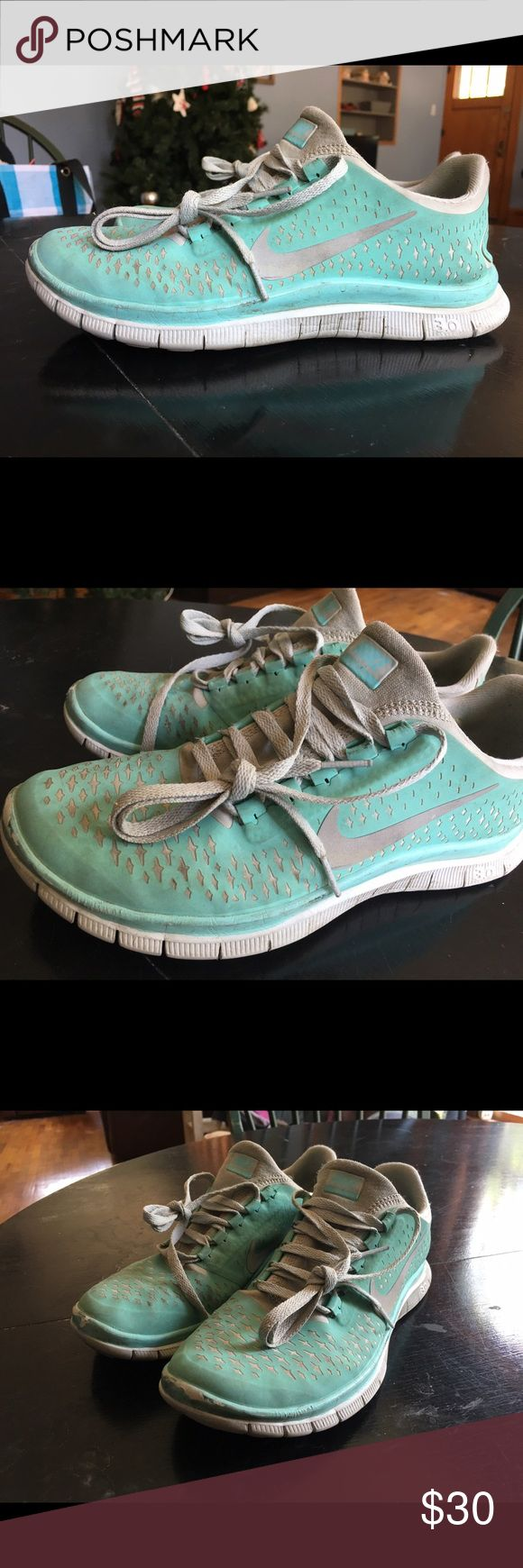 Tiffany Blue Nike Free Runs Sz 8.5 Hi! These shoes have been worn for a while, but with a good clean, would look better! I hope you give them a chance! :) Tiffany blue color size 8.5! Nike Shoes Sneakers