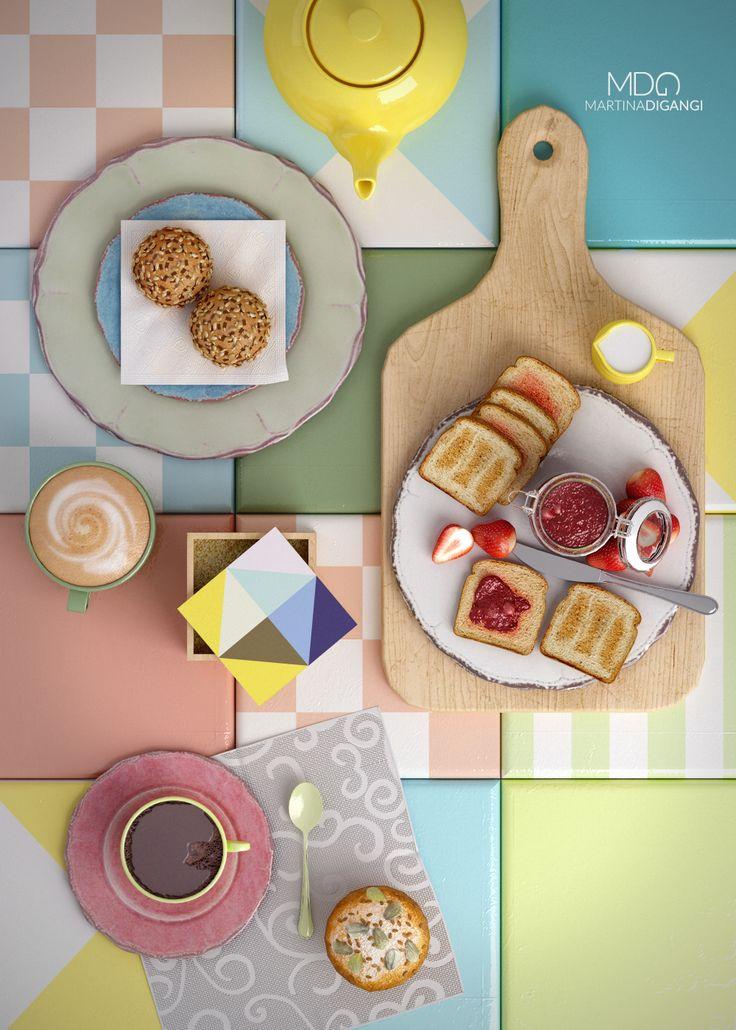 #interior #kitchen #breakfast #coffee #milk #colors #stillLife - Modellazione e rendering: Rhinoceros e Cinema 4D + Vray Post-produzione: Photoshop