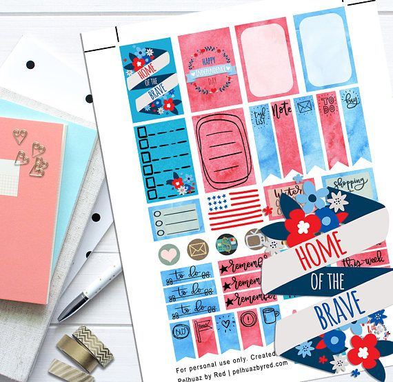 Independence Day Red Blue Theme Planner Weekly Sticker Kit | Craft Supplies & Tools | Party & Gifting | Labels, Stickers & Tags | Stickers | Happy Planner | Weekly Stickers Set | Planner Stickers Weekly | Planner Set | MAMBI | Printable Stickers | Planner Sticker Set | Themed Sticker Set Stickers | Independence Day | Fourth of July | Flag | Home of the Brave | Blue Theme | Red Theme