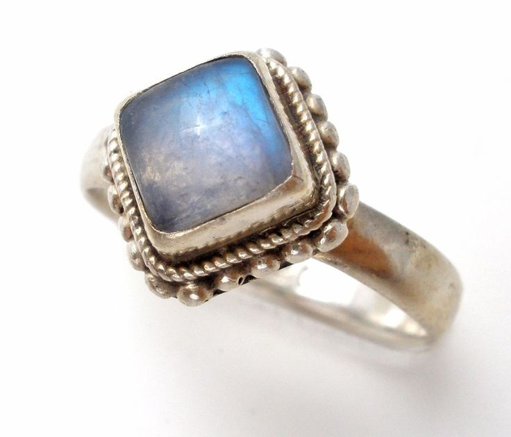 Moonstone Ring Sterling Silver Vintage Size 6.5 Blue Gemstone 925 Rainbow | Jewelry & Watches, Vintage & Antique Jewelry, Fine | eBay!