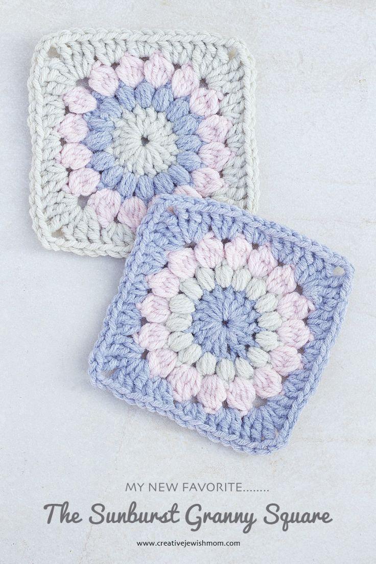 Crocheted Sunburst Granny Square