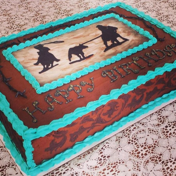 Western Team Roper Birthday Cake Western Filigree Stenciling Amp Edible Barb Wire Wwwfacebookcomvintagekitchencakes on Cake Central