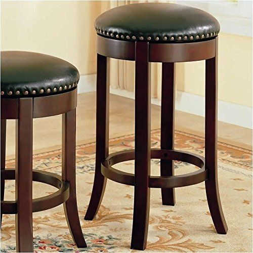 Coaster 101060 Swivel Bar Stool with Upholstered Seat 29-Inch Set of 2