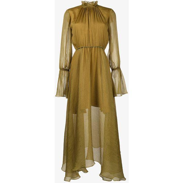 Beaufille Madea Chiffon Maxi Dress (£510) ❤ liked on Polyvore featuring dresses, chiffon dresses, brown dress, brown maxi dress, maxi length dresses and brown chiffon dress