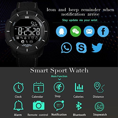 Kobwa Waterproof Smart Fitness Watch for IPhone/ Android, Bluetooth Activity Tracker Wristband with EL Backlight, Supports Swimming/ Pedometer/ Calories/ Message Notification (Silver)   1.Compatible with IPhone4s or above, Android 4.3 or higher with Bluetooth 4.0 BLE2.5 ATM Waterproof (Swimming safe)3.Ecofriendly, hypoallergenic