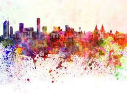bangkok watercolor skyline
