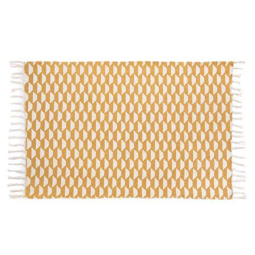 Mosterdgele katoenen DEAL tapijt 60 x 90 cm