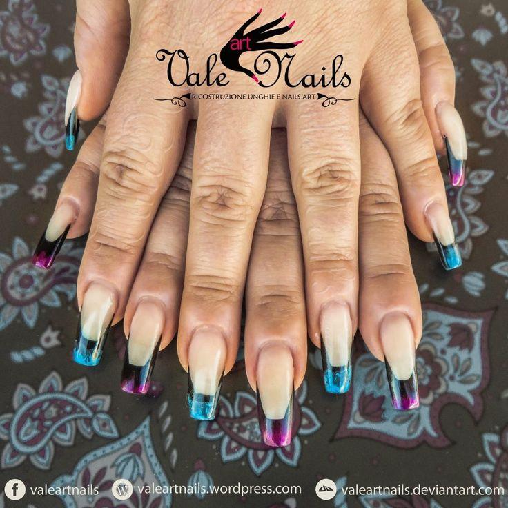 Long french #valeartnails #nails #nailart #ricostruzioneunghie #geluv #colorfrench #purple @lightblue #black #squarenails