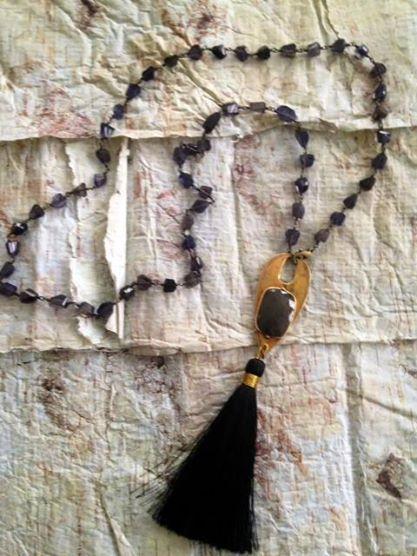 ID Tag W/Gemstone & Tassel.  http://bit.ly/1w65kTi  www.RachelOlesker.com
