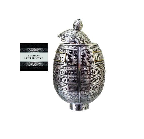 Geometric Age Egg-Box.Handmade Silver Art by HintziadisCreations