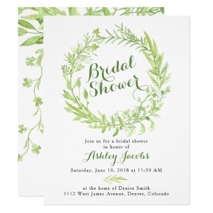 Greenery Watercolo Wreath Bridal Shower Invitation - st. patricks day gifts irish ireland green fun party diy custom holiday