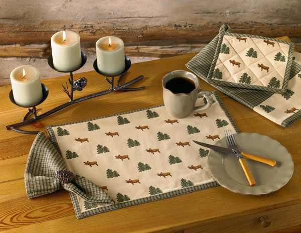 Northern Exposure placemat, napkin, dishtowel & potholder featured with a Pine Lodge centerpiece candle holder and napkin ring. Part of the Northern Exposure collection by Park Designs - www.parkdesigns.net