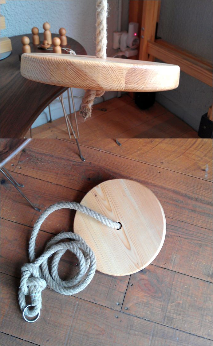 Wooden tree swing - Pine wood  Columpio de madera hecho a mano en Mobla.