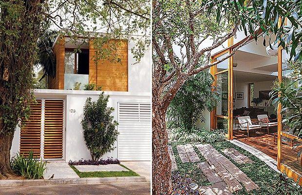 Com paredes curvas fechadas por vidros e volumes em balanço que dão leveza, o sobrado de 360 m², projetado pelo arquiteto Jorge Siemsen, abraça uma jabuticabeira preservada no terreno em bairro nobre de São Paulo. Ela é só um item na generosa área externa
