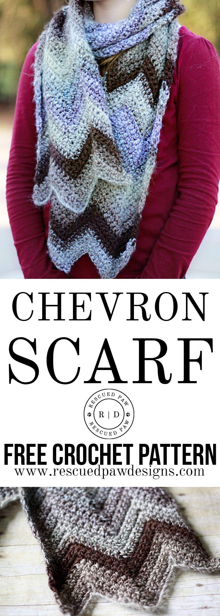Crochet Chevron Scarf Pattern by Rescued Paw Designs
