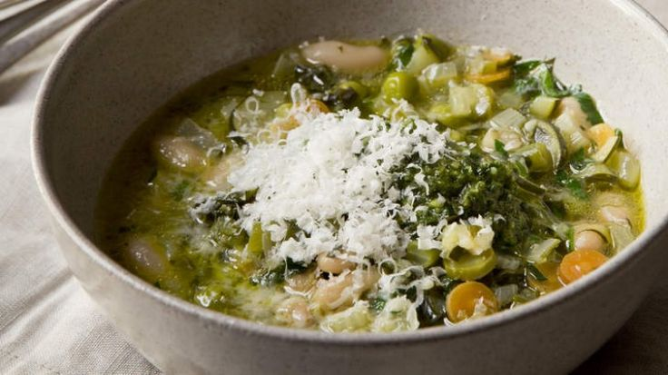 Spring minestrone with rocket and basil pesto