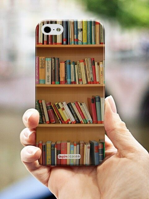 Mobile phone case cover with a lovely bookshelf design.
