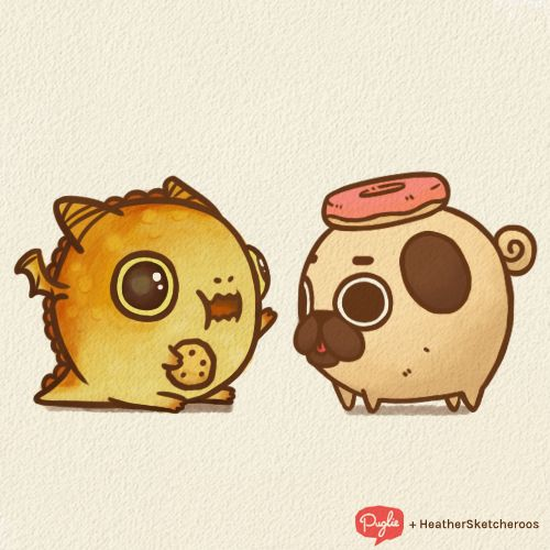 Little Puglie gets to meet little NohmIf you need more beautifully cute things to brighten up your day, check out the art of heathersketcheroos :]