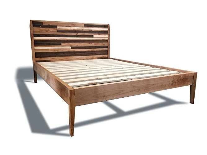 """Queen size solid wood platform bed frame and headboard finished with our Jacobean wood stain. The headboard features a slightly rustic, mosaic pattered aesthetic. The footboard is built with solid 1 1/2"""" x 10 3/4"""" Douglas Fir lumber to offer a splash of rustic flair to an otherwise modern profile. The sleek side rails are built with solid Sugar Pine."""