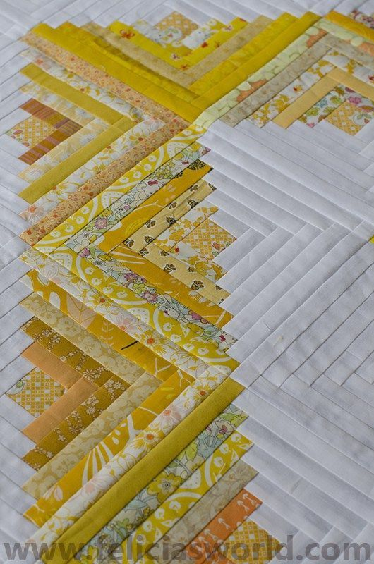 Yellow and white modern log cabin quilt