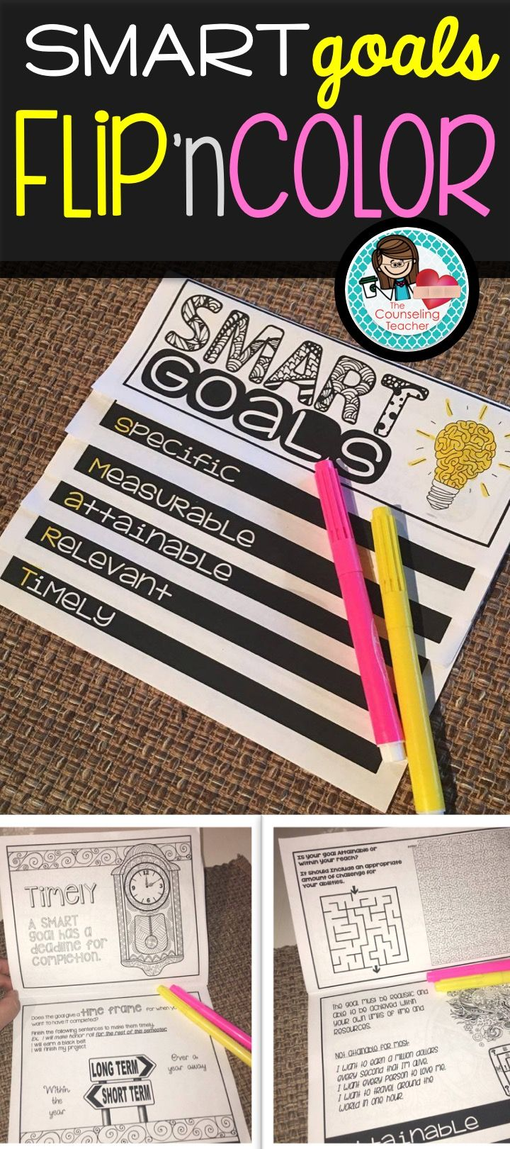 Goal setting is an important life skill. This flipbook engages students while teaching how to develop goals that are SMART. (Specific, measurable, attainable, relevant, timely)