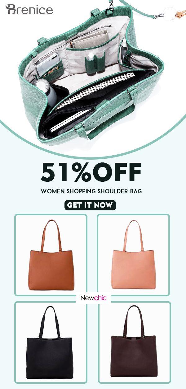 6e34ee54bd1 Women Casual Handbag Solid Shopping Shoulder Bag  multifunction  bags   shoulderbags  casual  solid