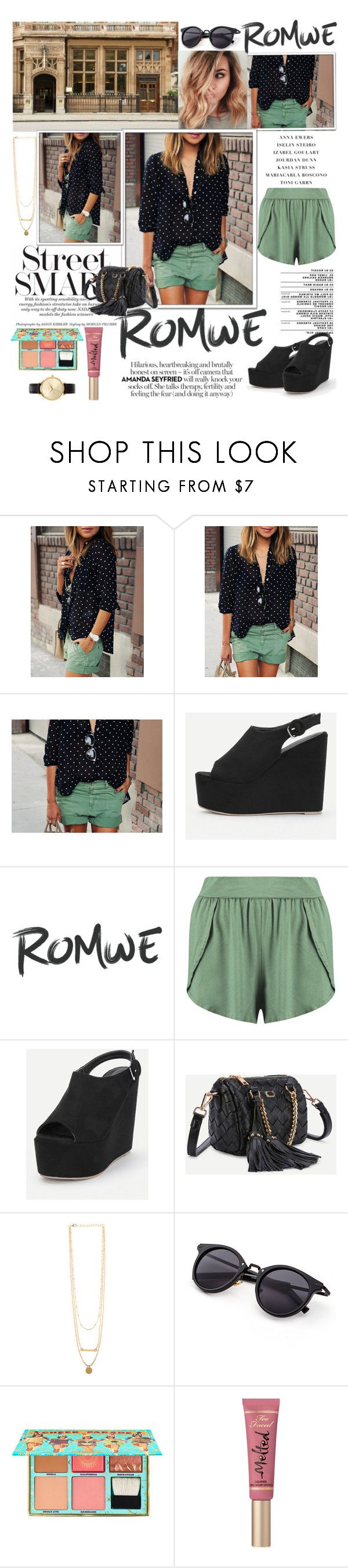 """Black Polka Dot With Buttons Blouse .- ROMWE.COM"" by miss-maca ❤ liked on Polyvore featuring Boohoo, Benefit, Too Faced Cosmetics and Nixon"