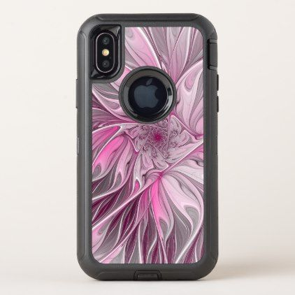 Fractal Pink Flower Dream Floral Fantasy Pattern OtterBox Defender iPhone X Case - diy cyo customize unique special