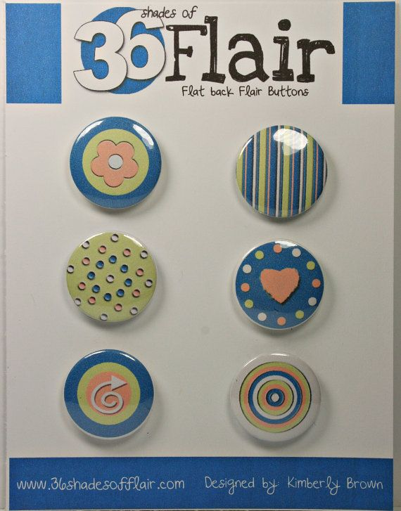 Peaches Round Flat backed Flair Buttons by 36ShadesofFlair, $4.75