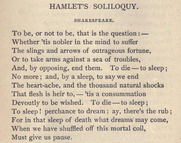 Hamlet. This soliloquy is arguably the most famous of all ...