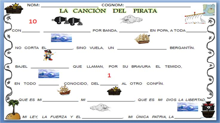 poema de José de Espronceda cancion del pirata. http://infantilcastell.blogspot.com.es/search/label/projecte%20pirates