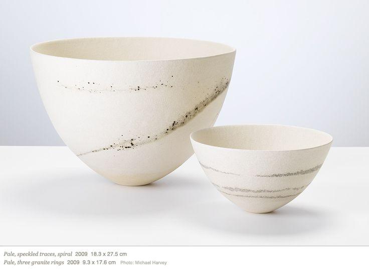 Jennifer Lee  Pale, speckled traces, spiral 2009 18.3 x 27.5 cm Pale, three granite rings 2009 9.3 x 17.6 cm