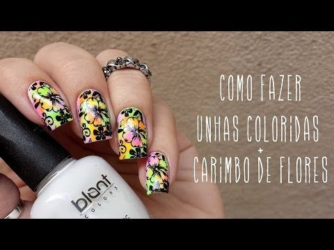 TUTORIAL DE UNHAS DECORADAS: Unhas coloridas com carimbada | Unhas da Mari - YouTube