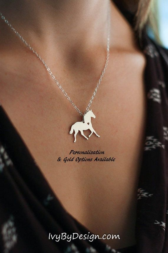 SALE  Personalized Horse Necklace  Horse Lover Gift by IvyByDesign