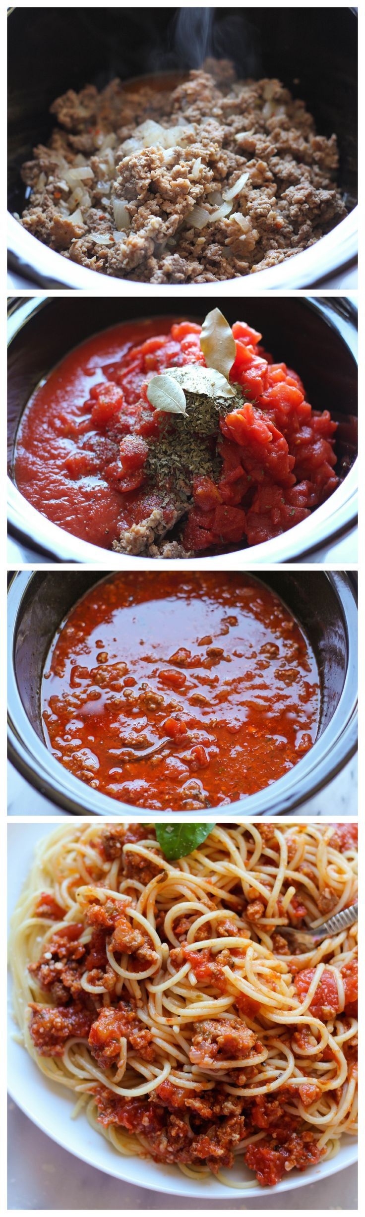 Slow Cooker Spaghetti Sauce - A rich and meaty spaghetti sauce easily made in the crockpot. It makes enough to feed an army and you can freeze the leftovers!