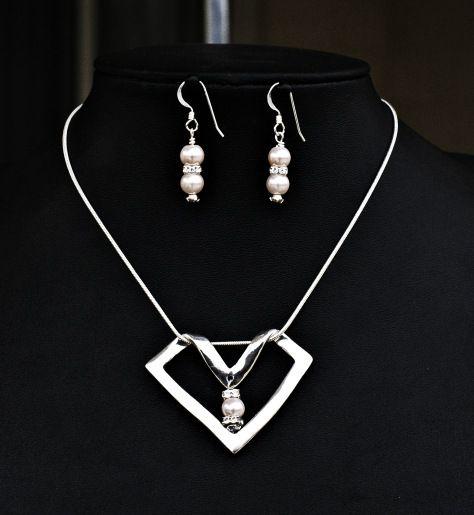 Silver, Swarovski, pearls, set