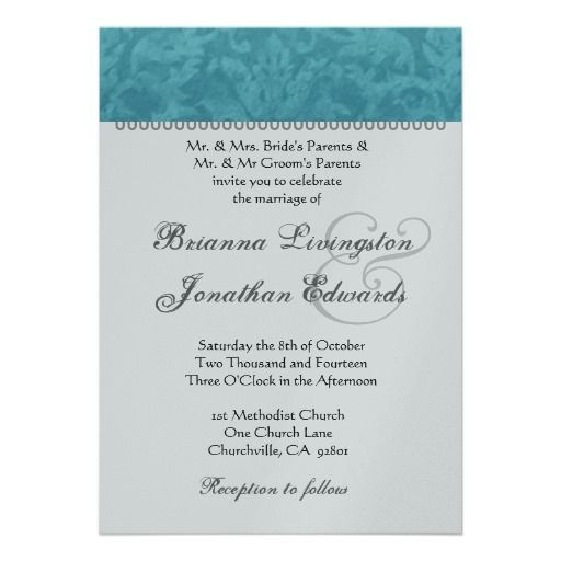 Turquoise And Silver Wedding Damask Template