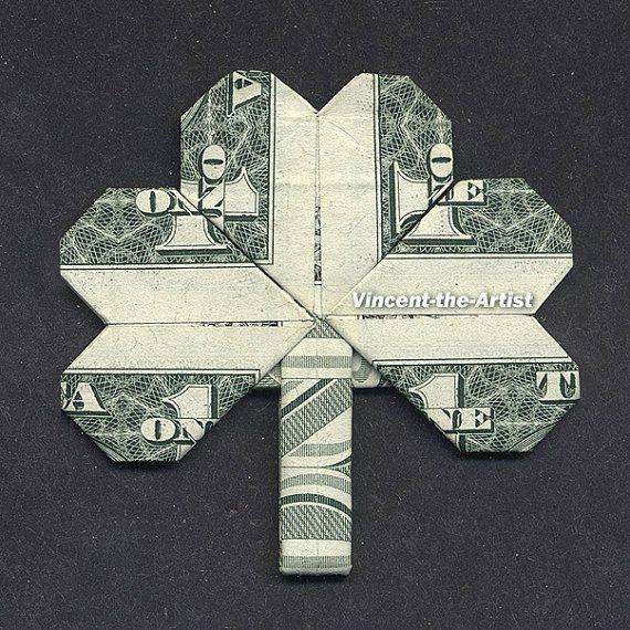Dollar Bill Origami SHAMROCK LEAF