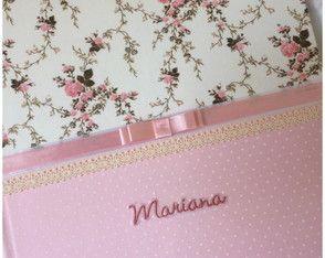 Livro/Diário do Bebê Menina-Floral Rosa