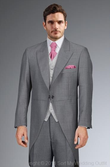 Midgrey tailcoat suit, silver scroll waistcoat, bright pink crevat, Debenhams